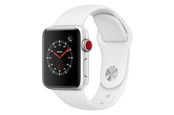 Apple Watch Series 3 Refurbished (Silver, 38mm, White Sport Band, GPS + Cellular) - A+ Grade