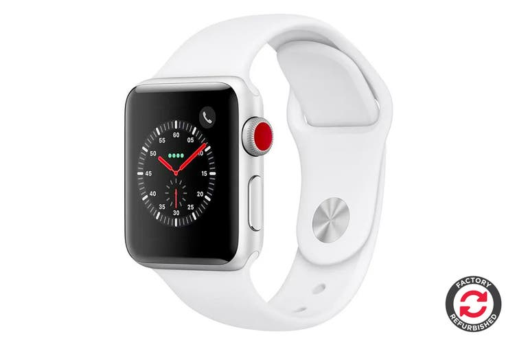 Apple Watch Series 3 Refurbished (Silver, 38mm, White Sport Band, GPS Only) - A+ Grade - US Model