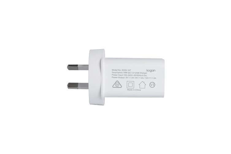 Kogan 18W USB Wall Charger with Quick Charge QC 3.0