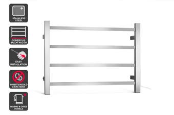 Kromo 4 Bar Stainless Steel Heated Towel Rail
