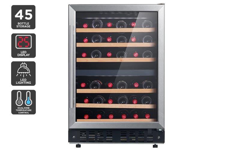 Kogan 45 Bottle Dual Zone Wine Fridge - Stainless Steel