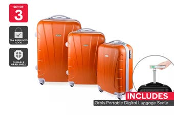 Orbis 3 Piece Hardside Spinner Luggage Set (Tangerine) with Digital Luggage Scale