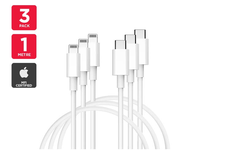 3 Pack Apple MFI Certified Lightning to Type C Cable (1m)