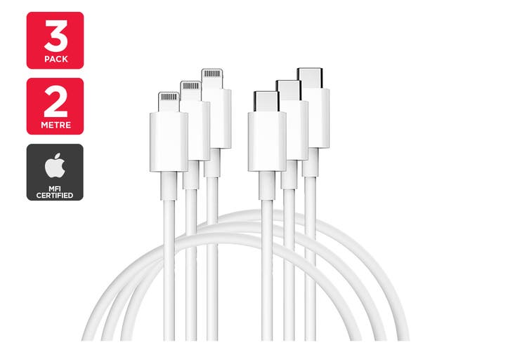 3 Pack Apple MFI Certified Lightning to Type C Cable (2m)
