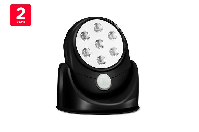 Wall Mounted Motion Sensor Cordless LED Light (Black) - 2 Pack