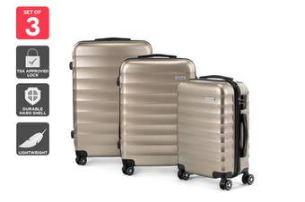 Orbis 3 Piece Capri Spinner Luggage Set (Champagne)