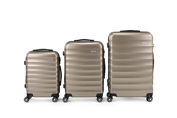 Orbis 3 Piece Capri Spinner Luggage Set (Champagne)