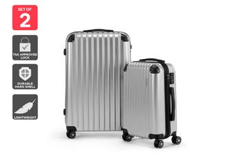 Orbis 2 Piece Maui Spinner Luggage Set (Silver)