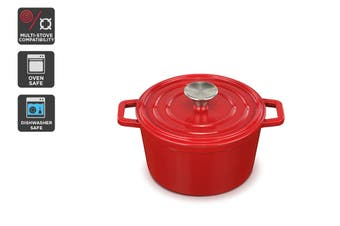 Ovela Cast Iron Casserole Dish 2.5L (Red)