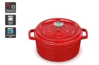 Ovela Cast Iron Casserole Dish 5L (Red)