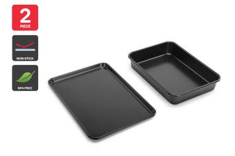 Ovela 2 Piece Heavy Base Roasting Pan and Oven Tray Combo