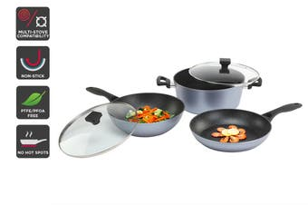 Ovela 5 Piece Set BlackStone Non-Stick Induction Cookware with Soft Touch Handle