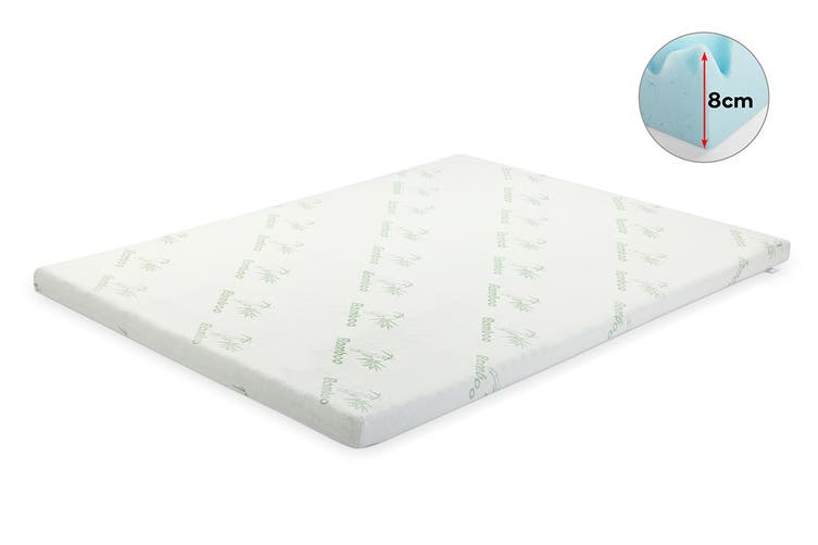 Ovela 7 Zone 8cm Thick Gel Memory Foam Mattress Topper with Bamboo Cover (Queen)