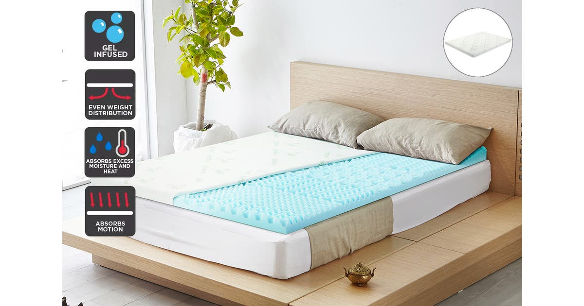 Ovela 7 Zone 8cm Thick Gel Memory Foam, Bamboo Queen Size Bed