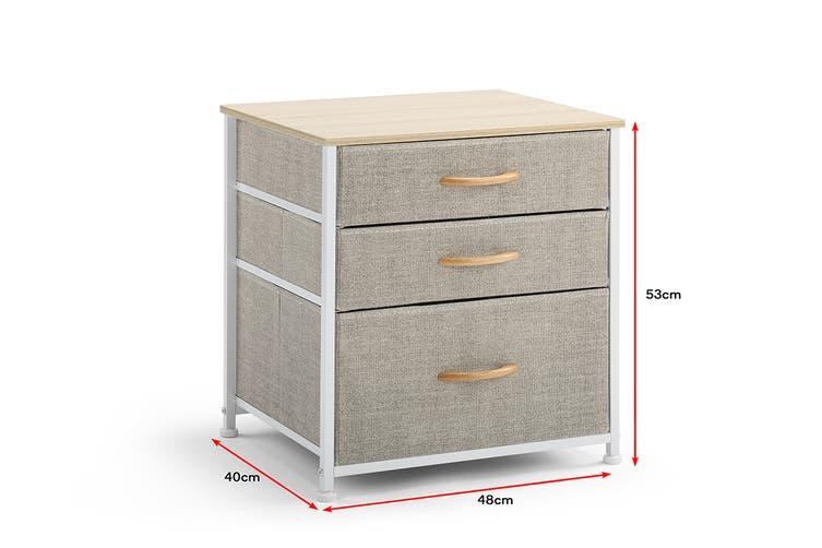 Ovela 3 Drawer Nightstand Bedside Table (Beige)