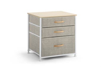 Ovela 3 Drawer Nightstand Bedside Table (Beige)