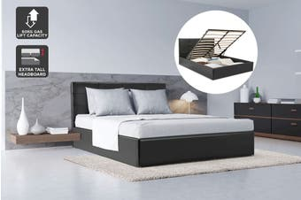 Ovela Bed Frame - Siena Gas Lift Collection (Black, Queen)