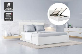 Ovela Bed Frame - Siena Gas Lift Collection (White, Queen)