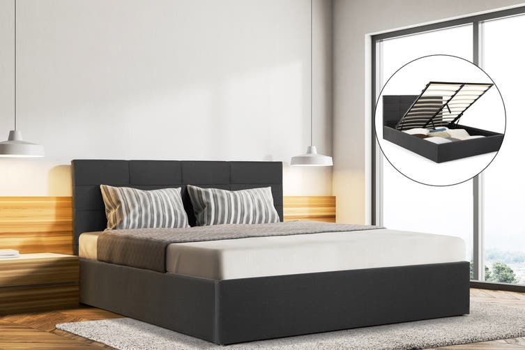 Ovela Bed Frame - Tenby Gas Lift Collection (Charcoal Grey, Queen)