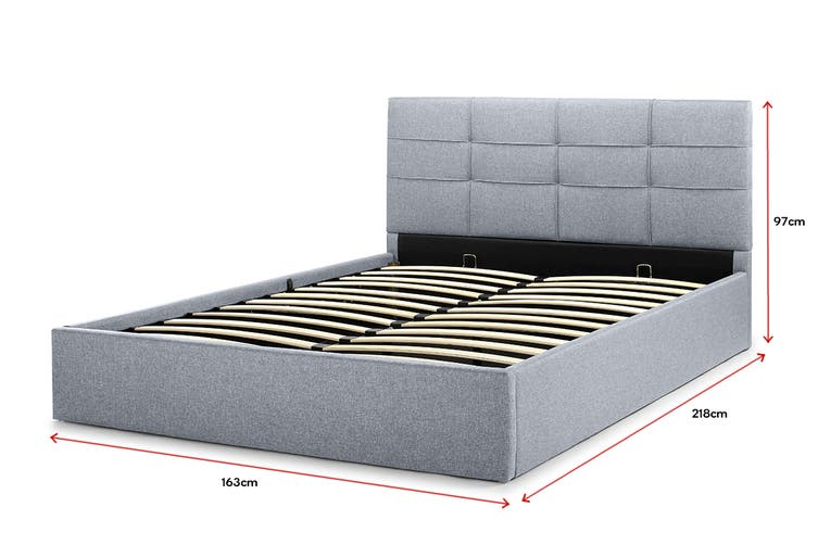 Ovela Bed Frame - Tenby Gas Lift Collection (Pewter Grey, Queen)