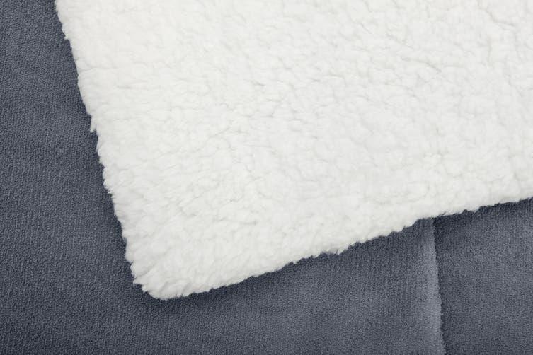 Ovela Reversible Sherpa Fleece Throw Blanket (Grey, Queen/King)
