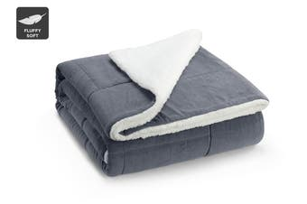 Ovela Reversible Sherpa Fleece Throw Blanket (Grey)