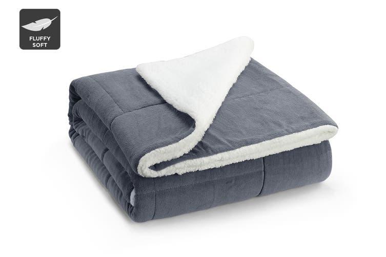 Ovela Reversible Sherpa Fleece Throw Blanket (Grey, Single/Double)