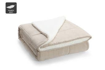 Ovela Reversible Sherpa Fleece Throw Blanket (Sand)
