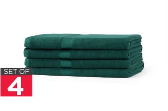 Ovela Set of 4 Bamboo Cotton Luxury Bath Sheets (Forest Green)