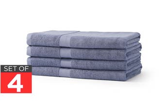 Ovela Set of 4 Bamboo Cotton Luxury Bath Sheets (Granite Blue)