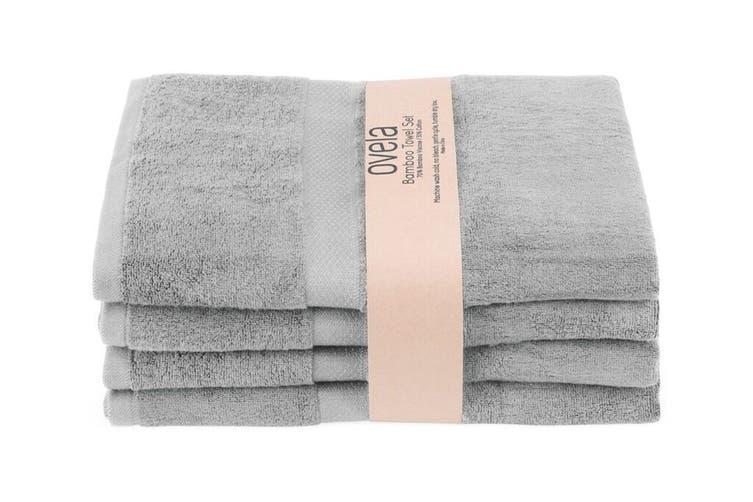 Ovela Set of 4 Bamboo Cotton Luxury Bath Sheets (Light Grey)
