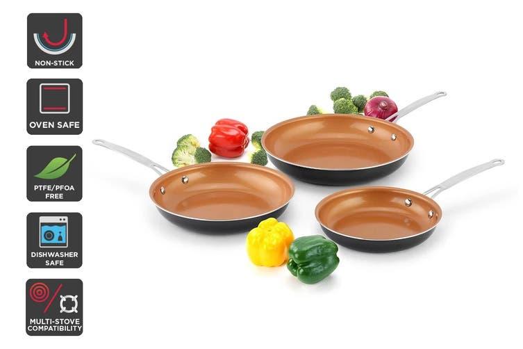 Ovela 3 Piece CeraMax Ceramic Frypan Set