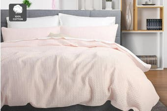 Ovela Deluxe Cotton Waffle Quilt Cover Set (Queen, Blush)