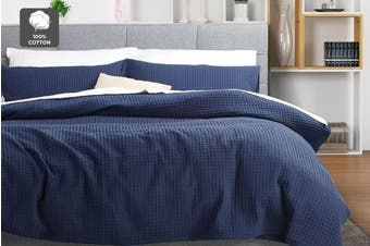 Ovela Deluxe Cotton Waffle Quilt Cover Set (Queen, Navy)
