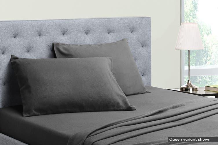 Ovela Cotton Flannelette Bed Sheet Set (Single, Dark Grey)