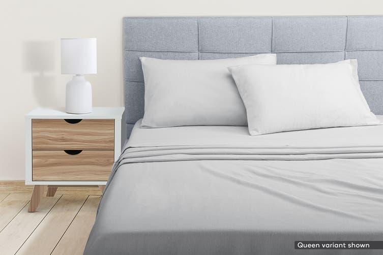 Ovela Cotton Flannelette Bed Sheet Set (Single, Light Grey)