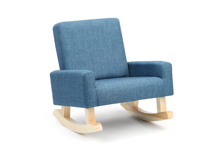 Ovela Kids Linen Rocking Chair (Blue)