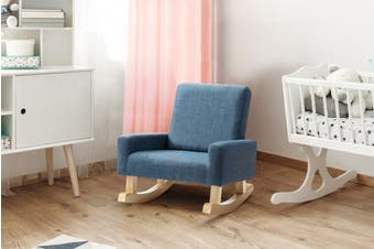 Ovela Kids Linen Rocking Chair (Blue)