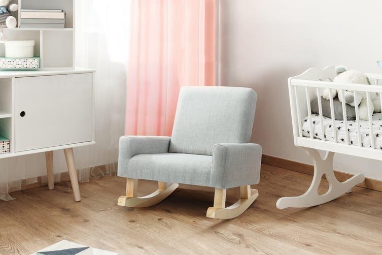 Ovela Kids Linen Rocking Chair (Grey)