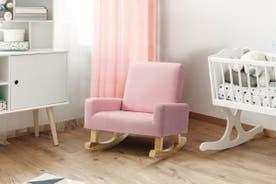 Ovela Kids Linen Rocking Chair (Pink)