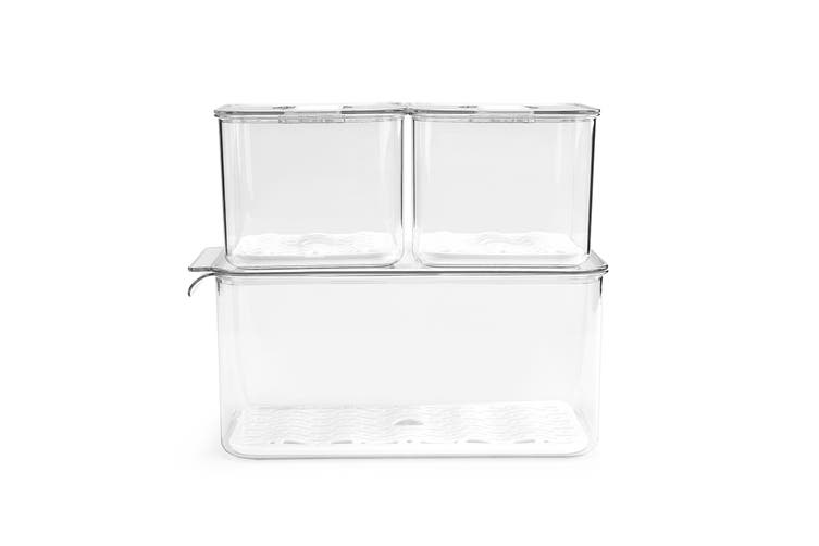 Ovela 3pc Stackable Produce Saver Food Storage Containers