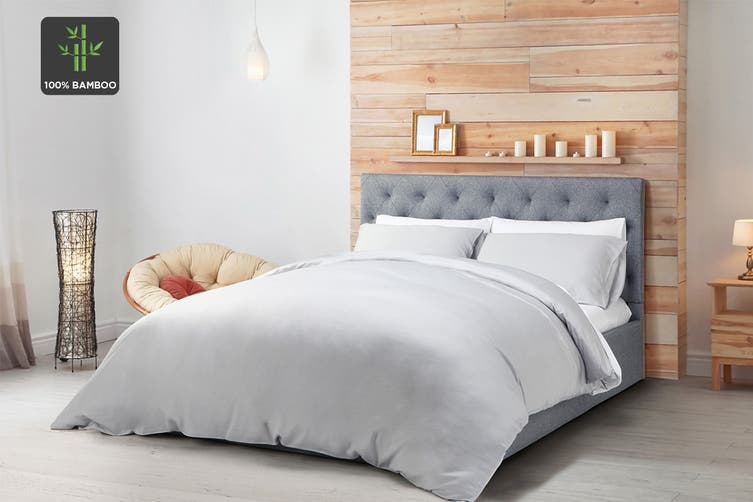Ovela 100% Bamboo Quilt Cover Set (King, Pale Grey)
