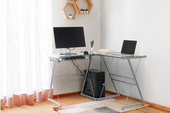 Ovela Corner Desk Edison- Clear/Silver