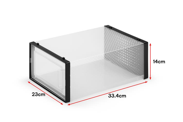 Ovela Set of 12 Click Shoe Box (Small, Clear/Black)