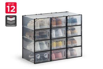 Ovela Click Shoe Box Set of 12  (Small, Clear/Black)