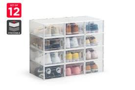 Ovela Set of 12 Click Shoe Box (Small, Clear/White)
