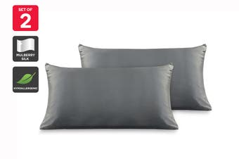 Ovela Set of 2 Mulberry Silk Pillowcases (Charcoal)
