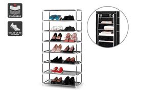 Ovela Stackable Shoe Rack and Storage Wardrobe (Black)