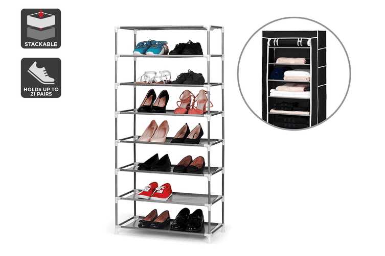 Ovela Stackable Shoe Rack and Storage Wardrobe (Black)