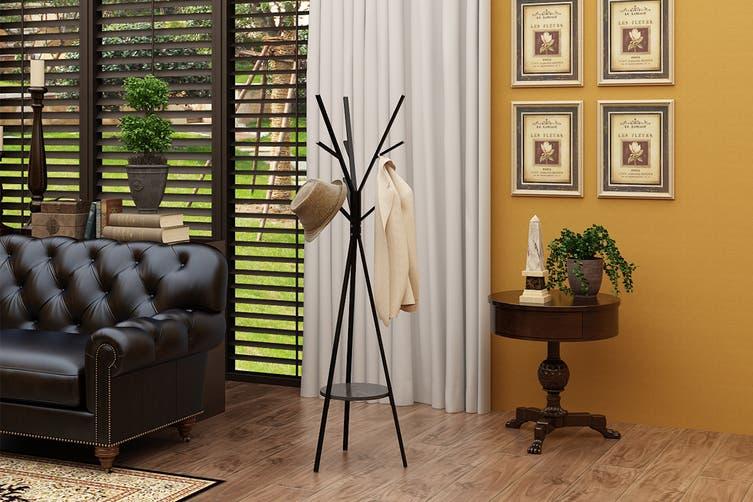 Ovela 9 Hook Coat Hanger Stand (Black)